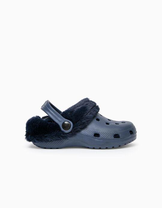 Lined Clogs for Children, Dark Blue