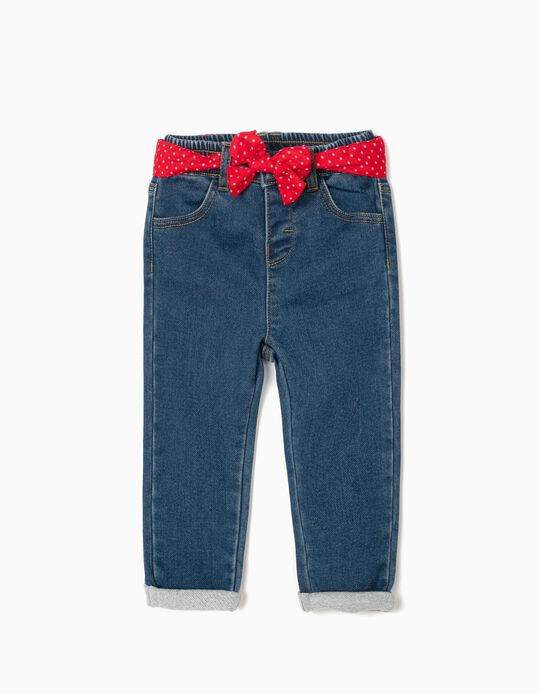 Trousers with Ribbon for Baby Girls, 'Comfort Denim', Blue