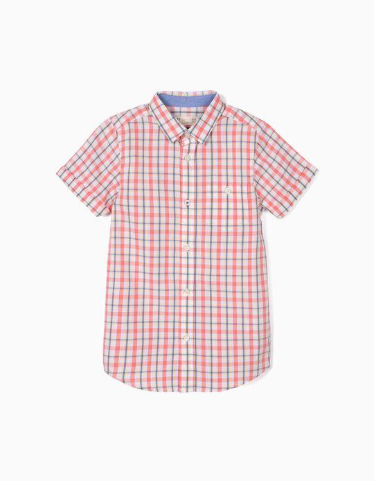 Camisa para Niño a Cuadros, Blanco y Coral