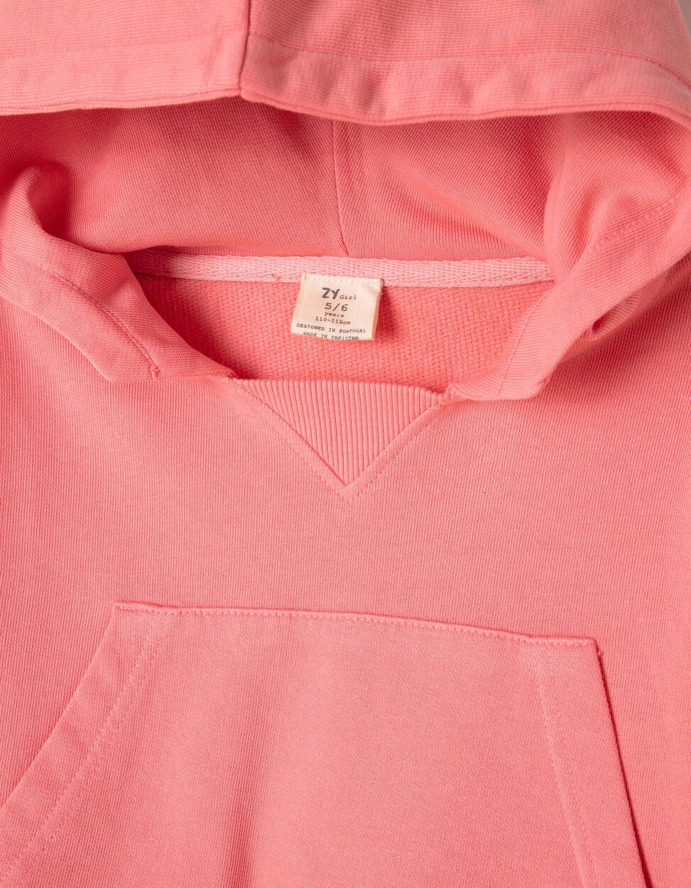 Sweatshirt Curta com Capuz Rosa