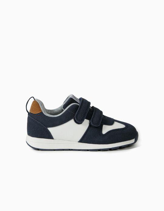 Zapatillas trabillas autoadherentes para Niño, Azul Oscuro/Blanco