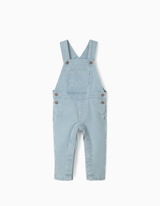 Jardineiras Riscas para Bebé Menino, Azul