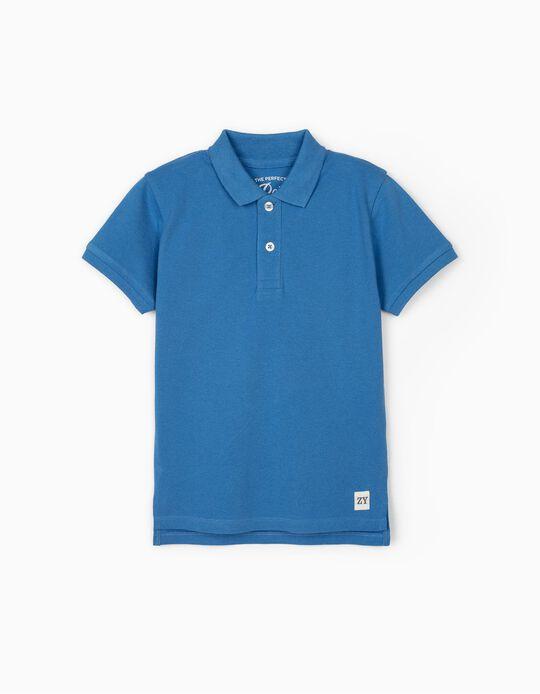 Short Sleeve Polo Shirt for Boys, Blue