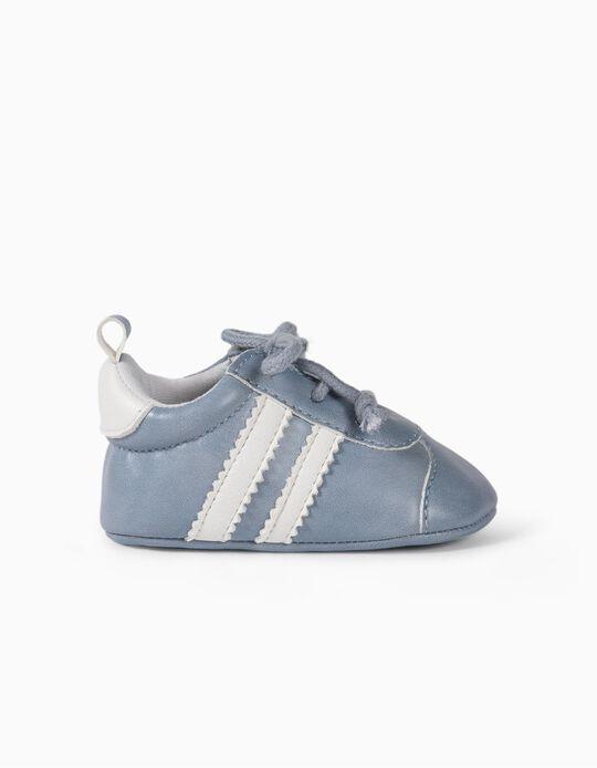 Zapatillas para Recién Nacido a 'Rayas', Azul Claro