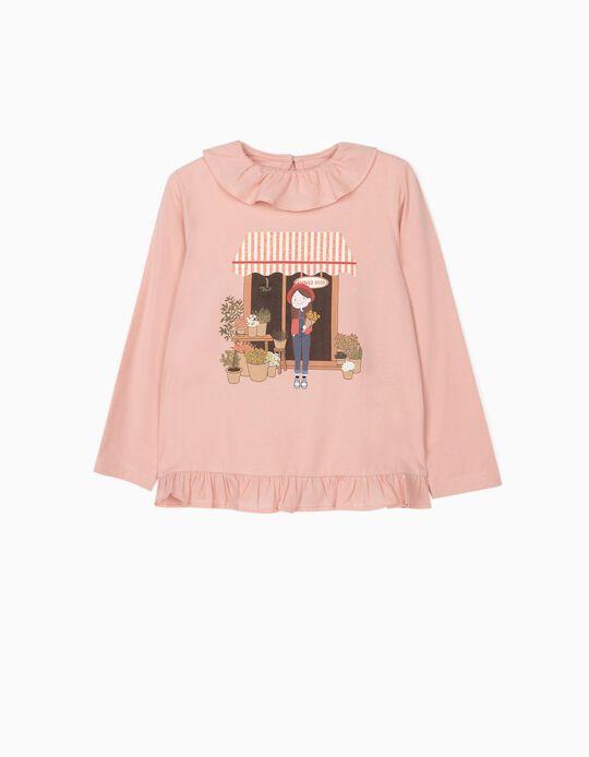 T-shirt Manga Comprida para Menina 'Flower Girl', Rosa