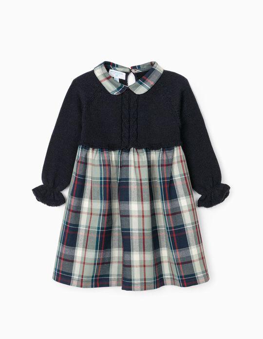 Vestido Combinado para Bebé Menina 'B & S', Multicolor
