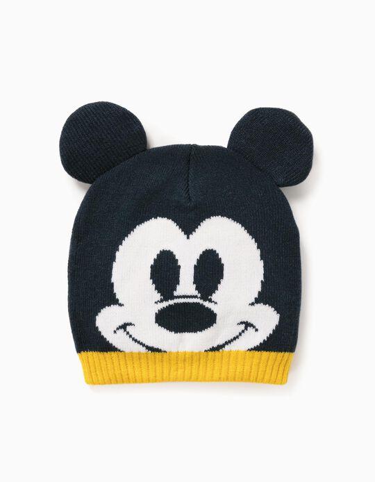 Gorro de Malha para Bebé Menino 'Mickey', Azul Escuro/Amarelo