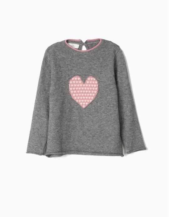 Camisola de Malha para Menina 'Heart', Cinza