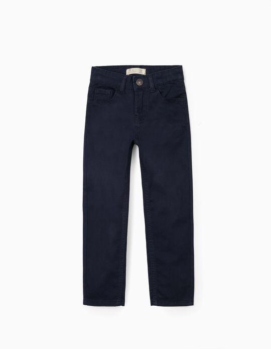 Pantalon en Sergé Garçon, Bleu Foncé