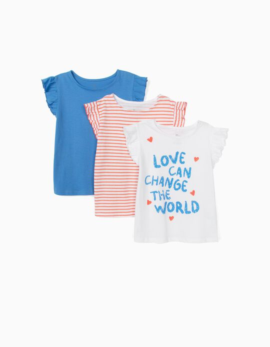 3-Pack T-shirts for Girls 'Love', Multicolour