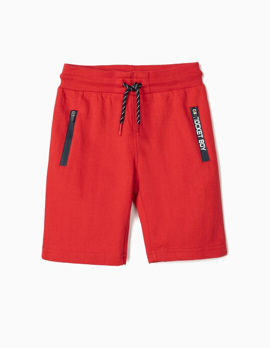 Sports Shorts for Boys, 'Rocket Boy', Red