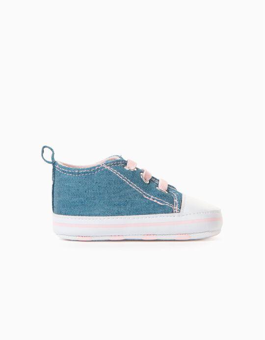 Zapatillas de Tejido para Recién Nacida, Azul/Rosa