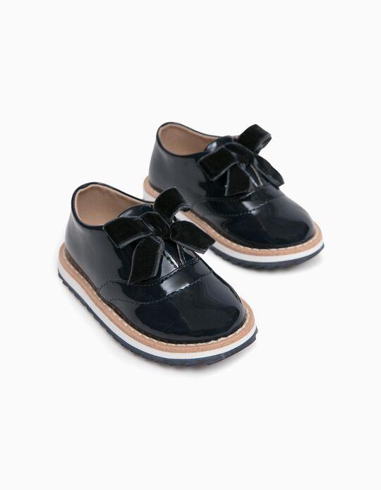 Sapatos de Verniz para Bebé Menina, Azul Escuro