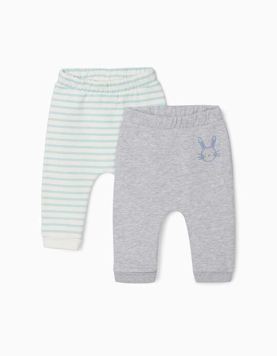 2 Pantalones para Recién Nacido 'Cute Bunny', Gris/Blanco/Azul