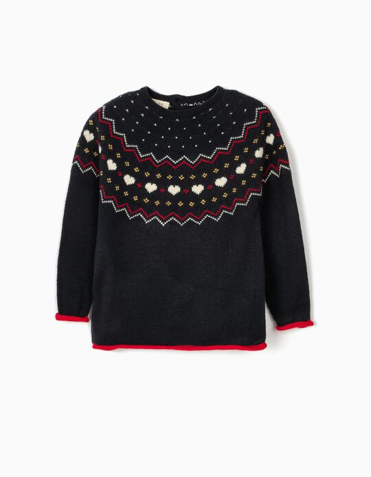 Jumper for Girls, 'Hearts', Dark Blue