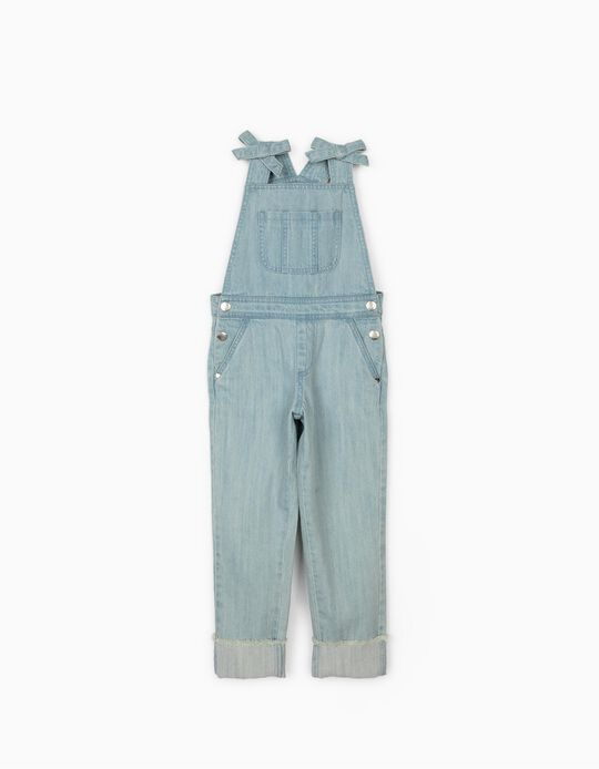 Denim Dungarees for Girls, Light Blue