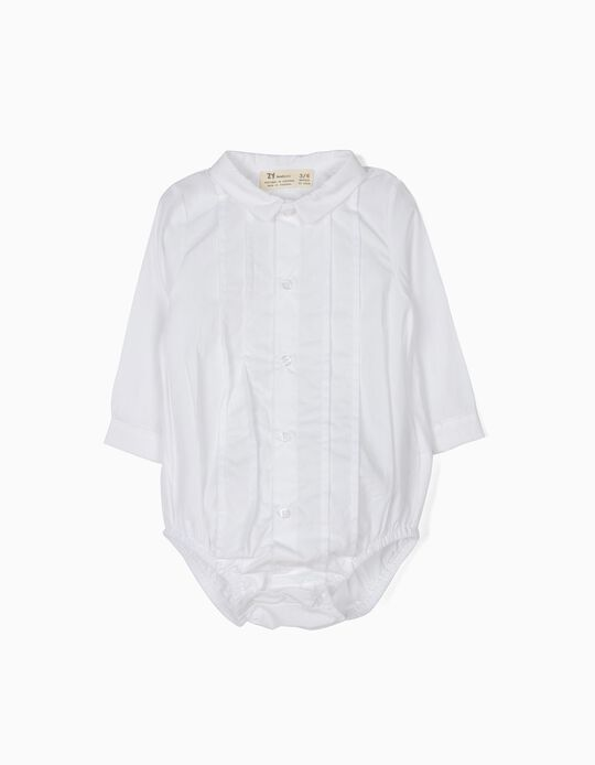 Body Camisa Recién Nacido Pliegues Blanco B&S