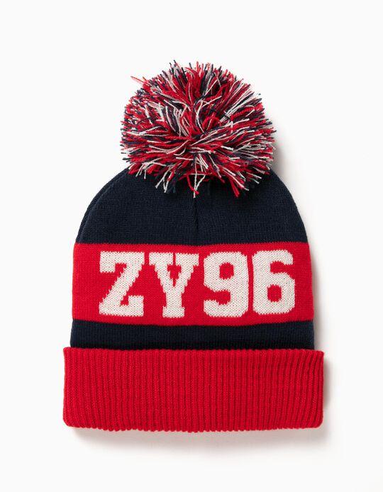 Gorro ZY 96 con Pompón Azul y Rojo