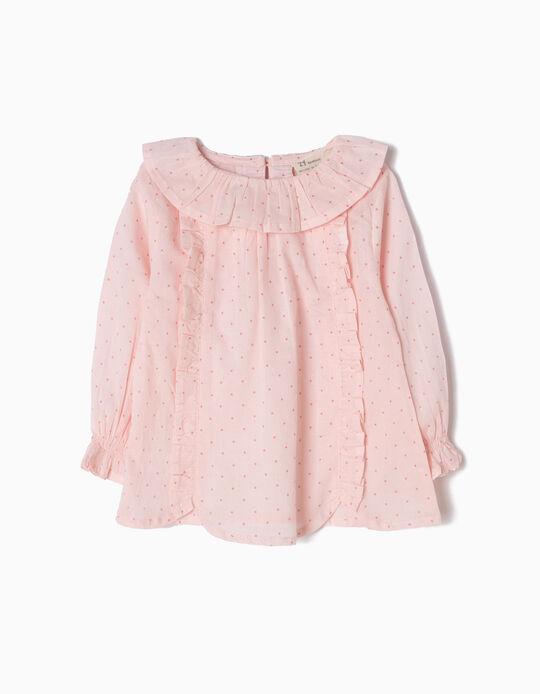 Blusa Folhos e Pintinhas Rosa