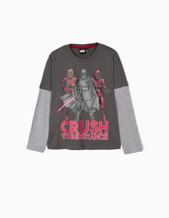 T-shirt Manga Comprida para Menino 'Crush the Resistance', Cinza