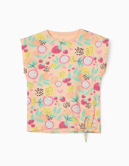 T-shirt fille 'Fruits', saumon