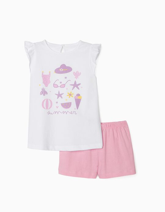 Pyjama fille 'Summer', blanc/rose
