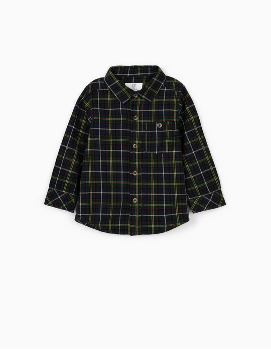 Camisa Manga Comprida Xadrez para Bebé Menino, Azul Escuro/Verde
