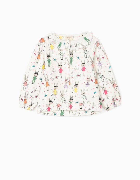 Jacket with Ruffle for Baby Girls 'Rabbit', White