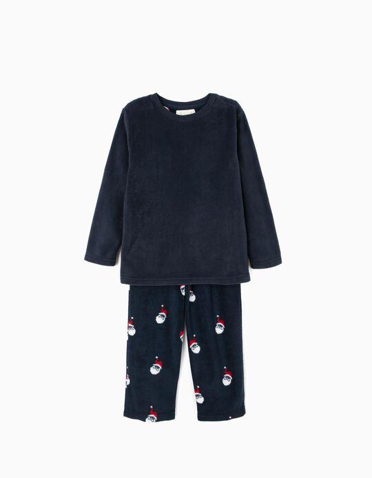 Pijama Polar Manga Comprida e Calças Azul Pai Natal