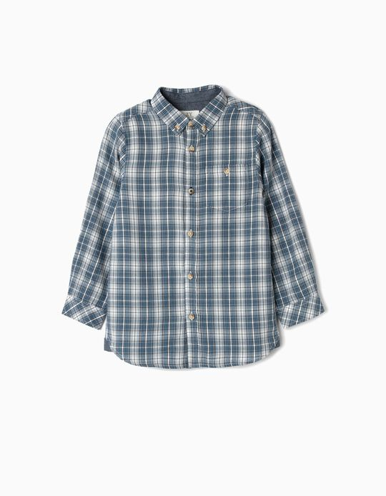 Check Shirt for Boys 'B&S', Blue