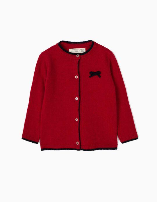 Casaco de Malha Lã Vermelho Escuro