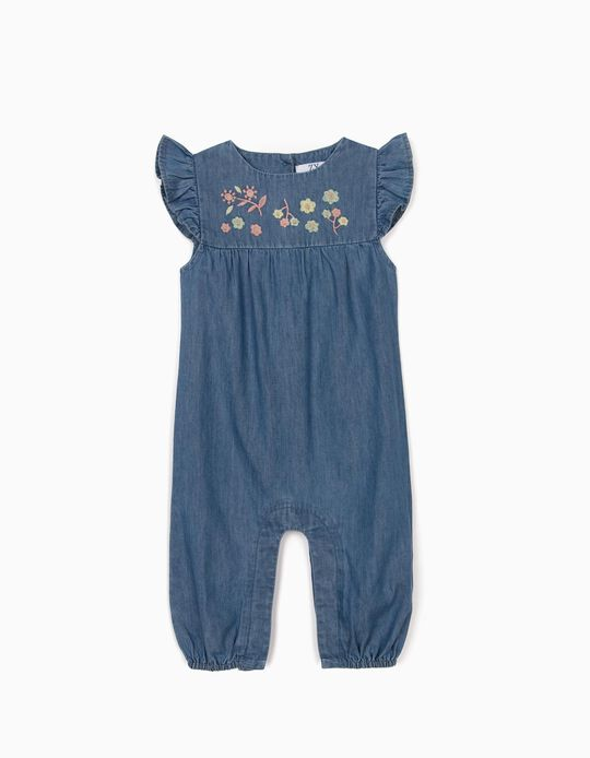 Floral Jumpsuit Newborn Baby Girls, 'Comfort Denim', Blue