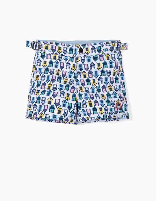 Swim Shorts for Baby Boys, 'Huts', Multicoloured