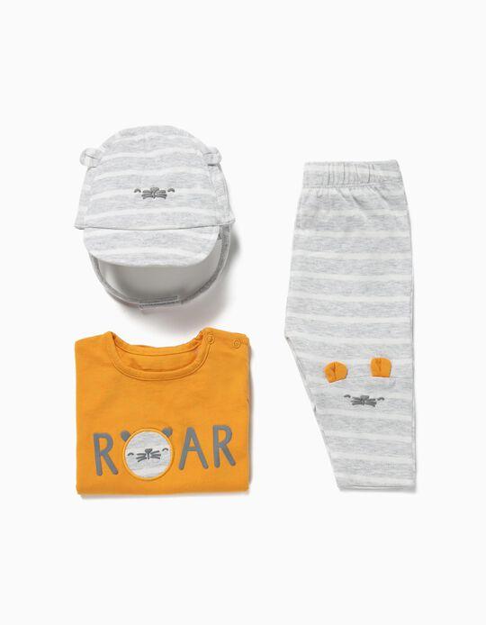 Conjunto 3 Peças para Recém-Nascido 'Animals', Amarelo e Cinza