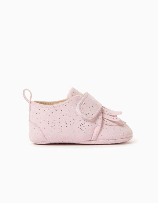 Zapatos para Recién Nacida 'Fringes', Rosa