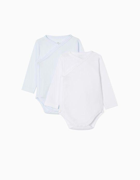 2-Pack Long-Sleeved Bodysuits for baby boys, Blue/White