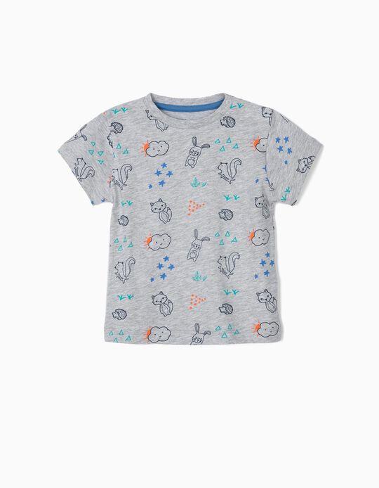 Camiseta para Bebé Niño 'Animals', Gris