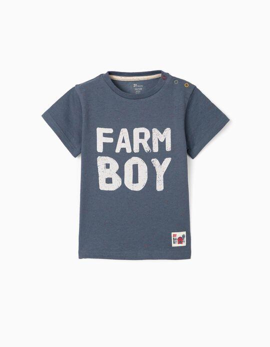 T-shirt para Bebé Menino 'Farm Boy', Azul