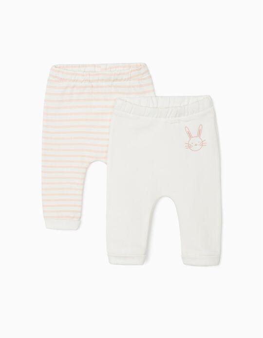 2 Pantalones para Recién Nacida 'Cute Bunny', Blanco/Rosa