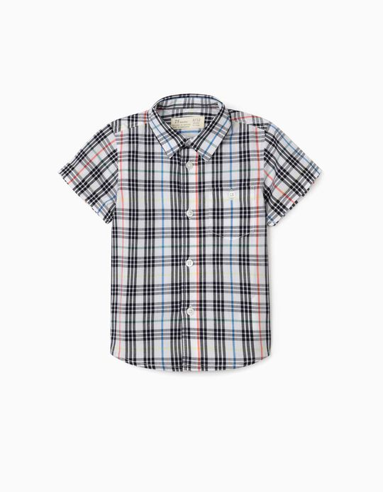 Plaid Short Sleeve Shirt for Baby Boys, White/Blue