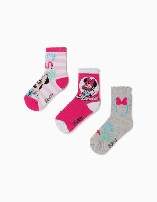 3 Pairs of Socks for Girls, 'Minnie Mouse', White/Pink/Grey