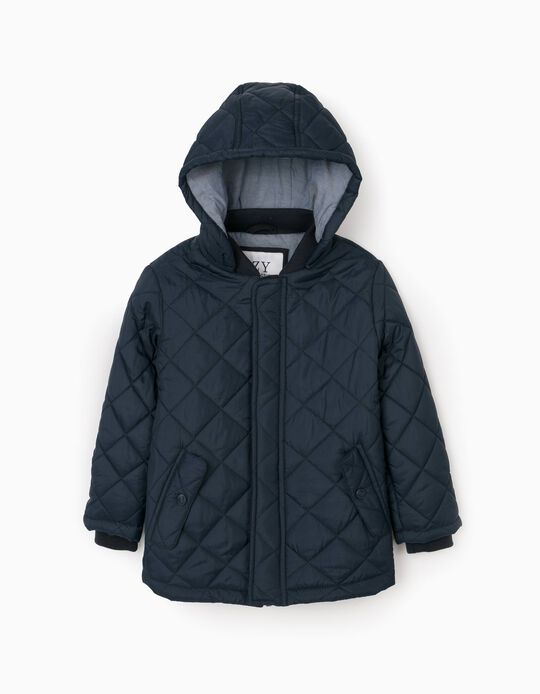 Quilted Jacket with Removable Hood for Boys, Dark Blue