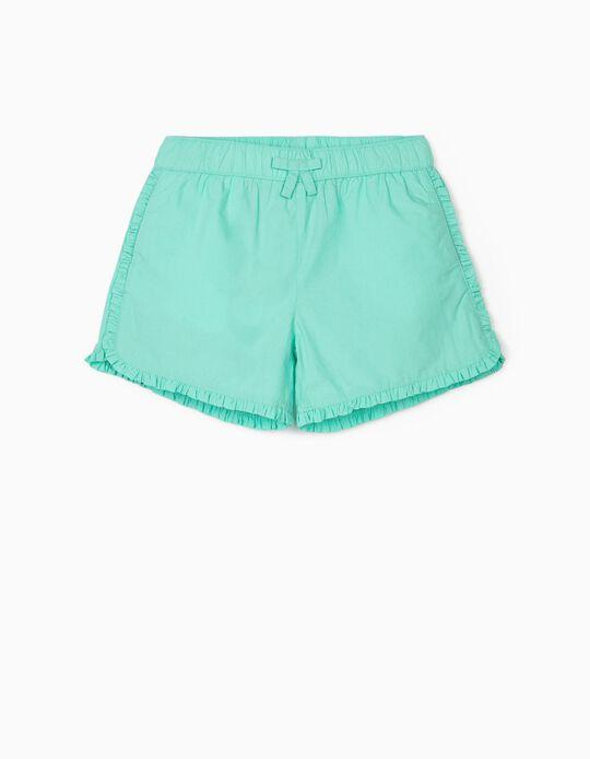Short à volants fille, vert d'eau