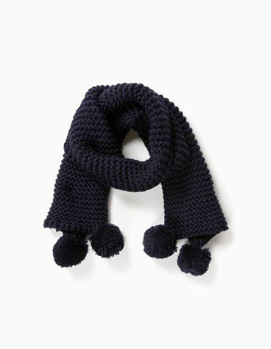 Bufanda con Borlas Azul Oscuro