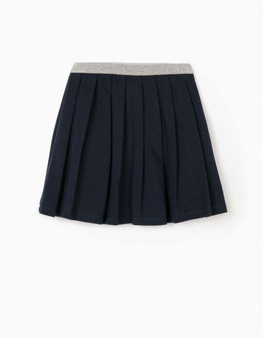 Falda de Pliegues Piqué para Niña, Azul Oscura