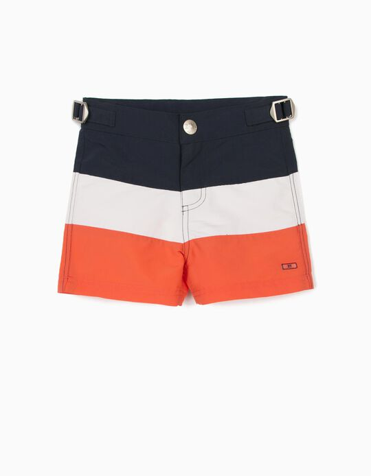 Swim Shorts for Boys, UPF 80, Blue/White/Coral