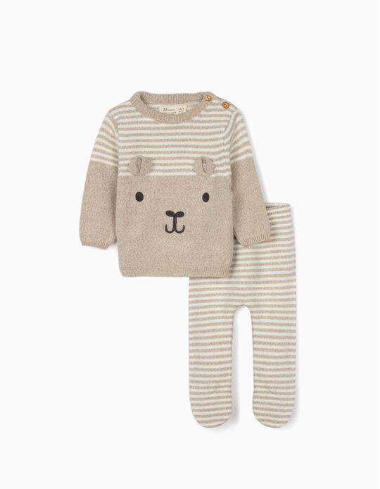 Camisola e Calças para Recém-Nascido 'Cute Bear', Bege/Branco
