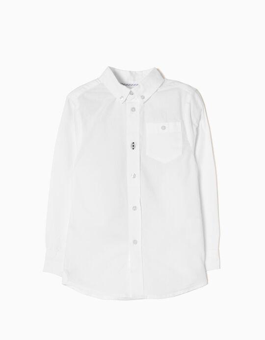 Camisa Manga Larga para Niño, Blanco