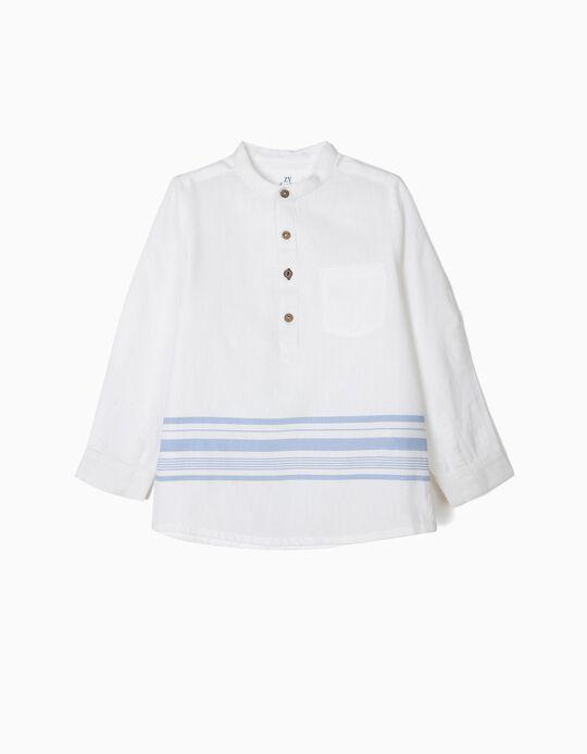 Camisa para Niño a Rayas y Cuello Mao, Blanca