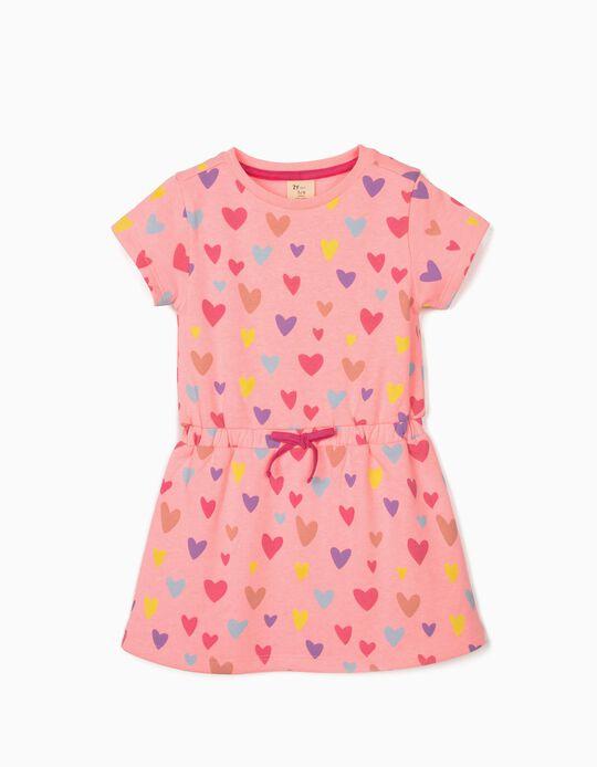 Vestido Manga Corta para Niña 'Hearts', Rosa